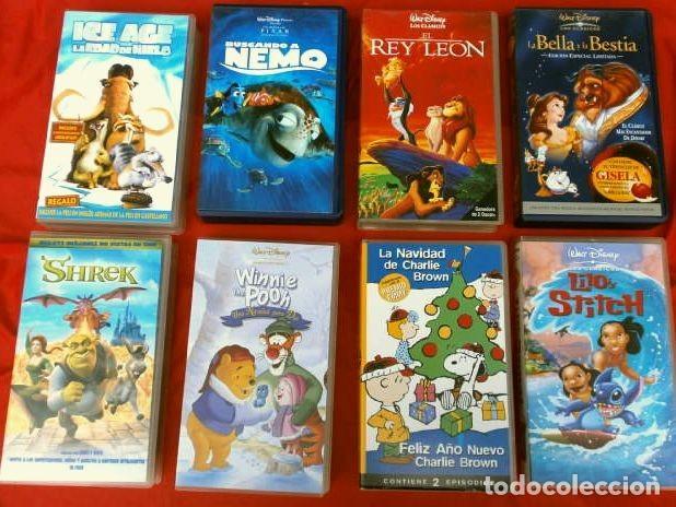 Peliculas Dibujos Animados De Navidad.Lote 8 Videos Vhs Peliculas Infantiles De Dibujos Animados 6 Disney Shrek Snoopy