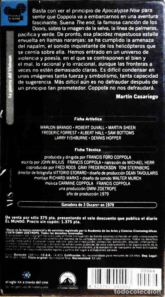 Cine: TODOVHS: Precintado. Apocalypse Now Francis Ford Coppola (Martin Sheen, Marlon Brando, Robert Duvall - Foto 2 - 147788926