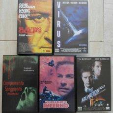Cine: LOTE 5 VIDEOS VHS - EL ULTIMO GOLPE/VIRUS/CAMPAMENTO SANGRIENTO/INFERNO/ARLINGTON. Lote 41484324