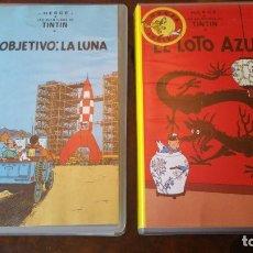 Cine: 2 PELICULAS VHS DE TINTIN - OBJETIVO LA LUNA Y EL LOTO AZUL. Lote 175047523