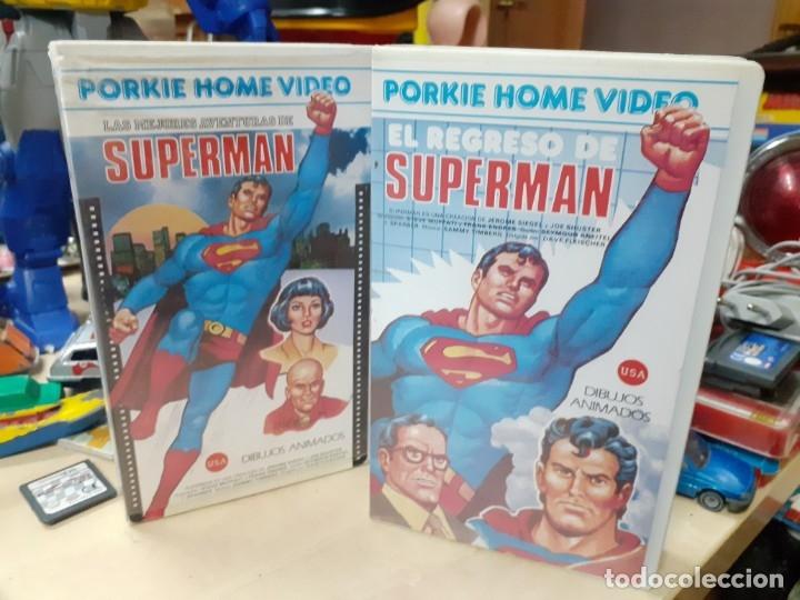 LOTE 2 PELÍCULAS DE SUPERMÁN DIBUJOS ANIMADOS.EL REGRESO DE SUPERMÁN Y LAS MEJORES AVENTURAS.AÑOS 80 (Cine - Películas - VHS)