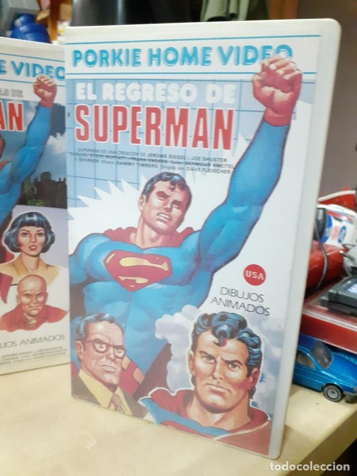 Cine: Lote 2 películas de Supermán dibujos animados.El regreso de Supermán y las mejores aventuras.Años 80 - Foto 2 - 176251683