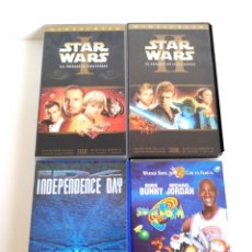 Cine: PACK VHS STAR WARS EPISODIO I & II, INDEPENDENCE DAY, SPACE JAM. Lote 177731075