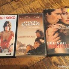 Cine: LOTRE 3 PELÍCULAS-LUCIA Y EL SEXO-LOS PUENTES DE MADISON-PECADO ORIGINAL . Lote 179332972