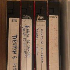 Cine: PELICULAS VHS GRAVADAS(VISCOSIDAD,NUEVA YORK BAJO TERROR,CANÍBAL FEROZ,TIBURON3 PIRANYA2 BAHIA SANGR. Lote 182463732