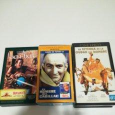 Cine: LOTE DE 3 VHS. BEN HUR, LOUIS FUNES LA LEYENDA DE LA CIUDAD SIN NOMBRE . Lote 192597643