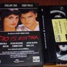 Cine: TODO ES MENTIRA - PENELOPE CRUZ, COQUE MALLA - VHS. Lote 194201688