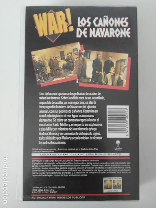 Cine: Los Cañones de Navarone Gregory Peck Anthony Quinn War Classics cinta de video VHS - Foto 5 - 194524381