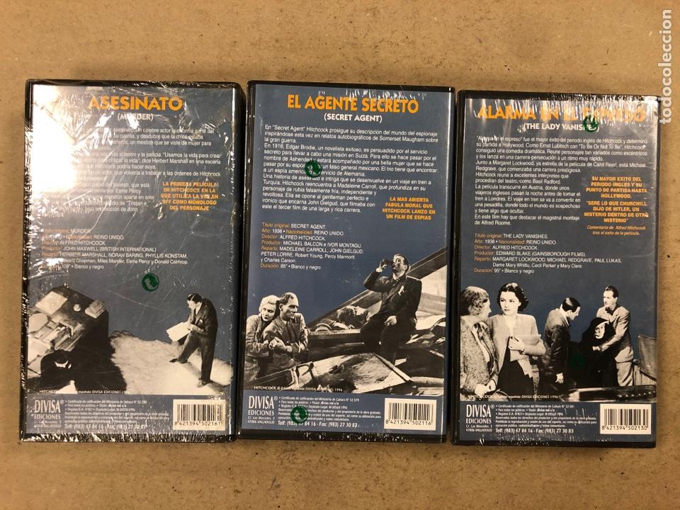 Cine: - VHS - ALFRED HITCHCOCK, LOTE 3 PELÍCULAS CON PLÁSTICO PRECINTO. ASESINATO, EL AGENTE SECRETO Y - Foto 2 - 194896088