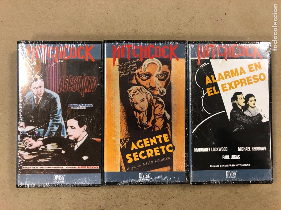 - VHS - ALFRED HITCHCOCK, LOTE 3 PELÍCULAS CON PLÁSTICO PRECINTO. ASESINATO, EL AGENTE SECRETO Y (Cine - Películas - VHS)
