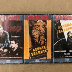 Cine: - VHS - ALFRED HITCHCOCK, LOTE 3 PELÍCULAS CON PLÁSTICO PRECINTO. ASESINATO, EL AGENTE SECRETO Y. Lote 194896088