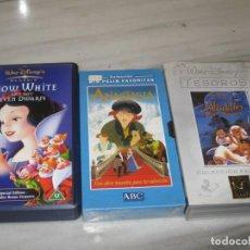 Cine: LOTE DE CINTAS VHS. ANASTASIA. BLANCA NIEVES. ALADIN. Lote 194962051