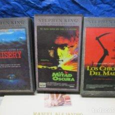 Cine: VHS - LOTE DE 3 PELICULAS DE TERROR STEPHEN KING - LOS CHICOS DEL MAÍZ, MISERY Y LA MITAD OSCURA . Lote 199422670