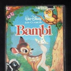 Cine: CINTA VHS: BAMBI · WALT DISNEY LOS CLÁSICOS - DURACIÓN: 67 MINUTOS -. Lote 206130170