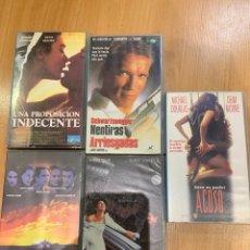 Cine: LOTE PELÍCULAS VHS UNA PROPOSICIÓN INDECENTE MENTIRAS ARRIESGADAS SOLO TÚ LA CASA DE LOS ESPÍRITUS. Lote 206946185