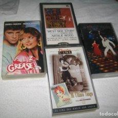Cine: LOTE DE 4 PELICULAS DE VHS COMO NUEVAS , GREASE, FIEBRE DEL SABADO, WEST SIDE STORY + SARA MONTIEL. Lote 213185755