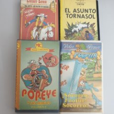 Cine: LOTE 4 VHS DIBUJOS ANIMADOS - LUCKY LUKE, TINTIN, POPEYE, FOOFUR. Lote 214328830