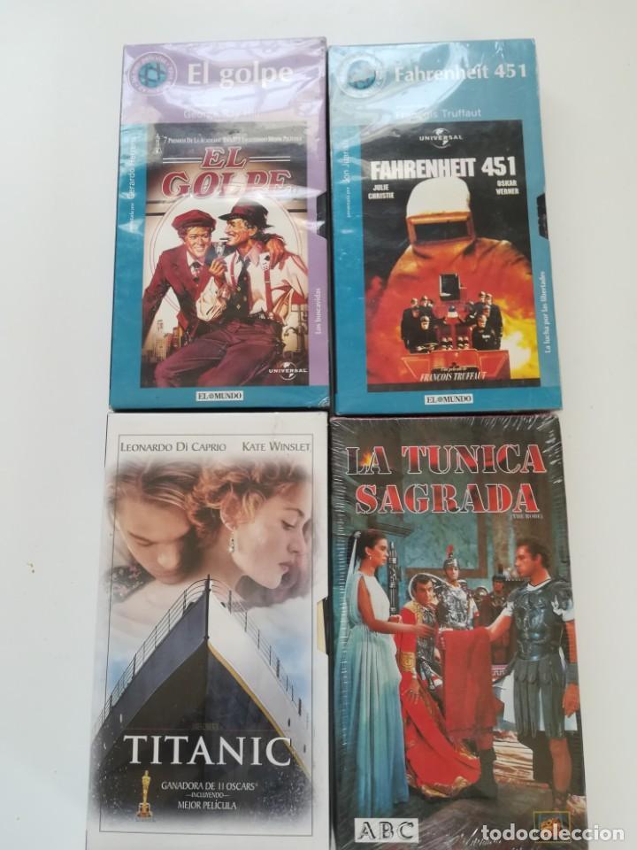 LOTE 4 VHS NUEVOS. TITANIC, EL GOLPE, LA TÚNICA SAGRADA, FAHRENHEIT 451 (Cine - Películas - VHS)