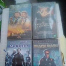Cine: 4 VHS. MATRIX, BLACK RAIN, EL PRESIDENTE Y ROB ROY. Lote 220691073
