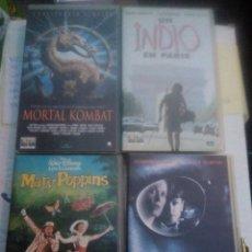 Cine: 4 VHS.. MORTAL KOMBAT, UN INDIO EN PARÍS, MARY POPPINS Y COPYCAT. Lote 220691890