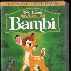 Cine: BAMBI - WALT DISNEY - LOS CLÀSICOS - REMASTERIZADA - VHS. Lote 288689843