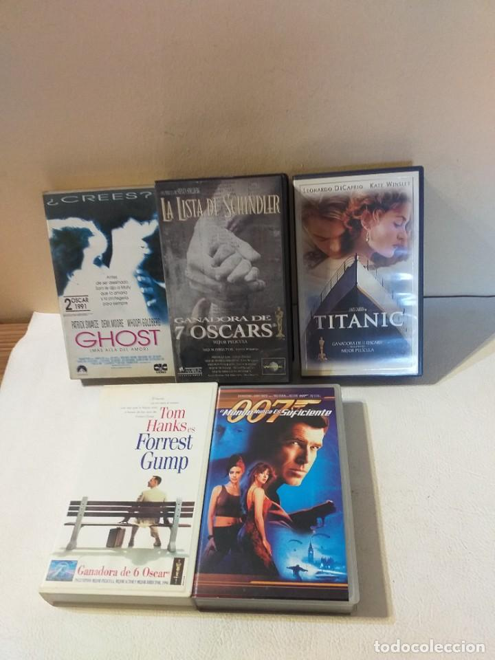 LOTE DE CINCO PELICULAS VHS: GHOST, TITANIC, FOREST GUMP, LA LISTA DE SCHINDLER... (Cine - Películas - VHS)