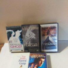 Cine: LOTE DE CINCO PELICULAS VHS: GHOST, TITANIC, FOREST GUMP, LA LISTA DE SCHINDLER.... Lote 236053760