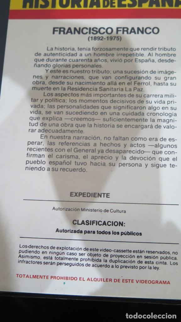 Cine: VHS. FRANCO. HISTORIA DE ESPAÑA - Foto 2 - 236816595