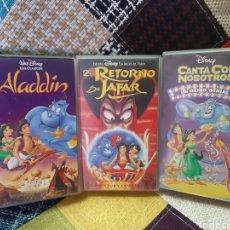 Cine: 3 VHS ALADDIN/EL RETORNO DE JAFAR (WALT DISNEY). Lote 244328920