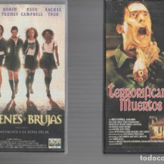 Cinema: VHS 2 X 1 - JOVENES Y BRUJAS / TERRORIFICAMENTE MUERTOS. Lote 262039375