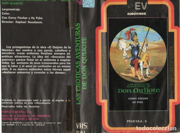 """VHS - LAS EROTICAS AVENTURAS DE DON QUIJOTE - CLASIFICADA """" S """" (Cine - Películas - VHS)"""