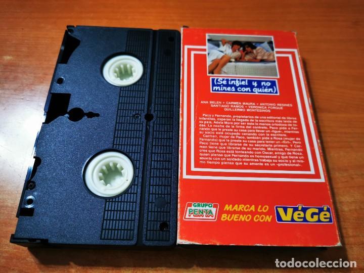 Cine: SE INFIEL Y NO MIRES CON QUIEN VHS PROMO PENTA PORTADA DE CARTON ANA BELEN CARMEN MAURA - Foto 2 - 289890303