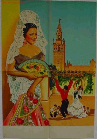 PRECIOSO CARTEL DE LOLA FLORES LITOGRAFICO , AL FONDO SEVILLA LA GIRALDA (Cine - Posters y Carteles - Clasico Español)