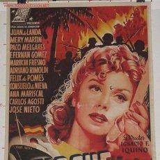 Cine: NOCHES SIN CIELO, IMPORTANTE CARTEL 1954 LITOGRAFIA - IGNACIO F. IQUINO. Lote 26971031