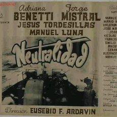Cine: CARTEL CINE NEUTRALIDAD BARCOS, JORGE MISTRAL , ORIGINAL, ANTIGUO. Lote 172671363