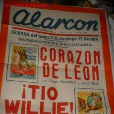 Cine: RARO Y ANTIGUO CARTEL DE CINE DE 2 PROGRAMAS DE PELICULAS CORAZON DE LEON Y TIO WILLIE.. Lote 26321936