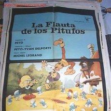 Cine: POSTER ORIGINAL DE CINE 70X100CM LA FLAUTA DE LOS PITUFOS. Lote 15665971