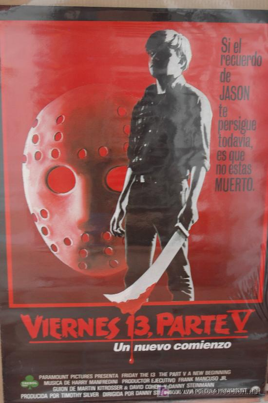 Cine: Viernes 13 parte 5 - poster cartel original estreno - jason Friday the 13th V beginning - Foto 1 - 3263212