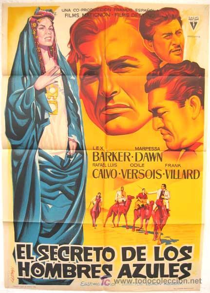 CARTEL CINE EL SECRETO DE LOS HOMBRES AZULES ,1961, POR LLOAN ,LITOGRAFIA (Cine - Posters y Carteles - Suspense)