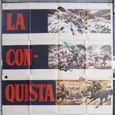 Cine: T00471 LA CONQUISTA DEL OESTE JOHN WAYNE POSTER ORIGINAL DE 3 HOJAS 100X205 DEL ESTRENO. Lote 12995698