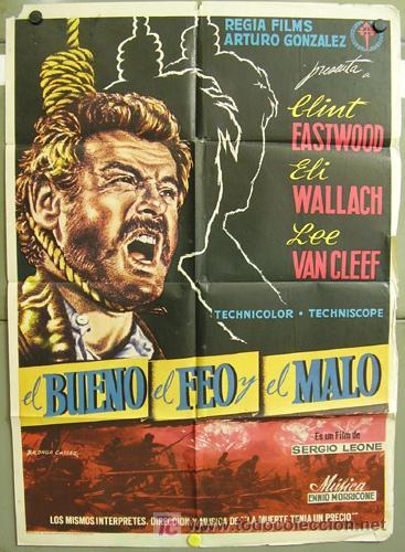 YP24D EL BUENO EL FEO Y EL MALO SERGIO LEONE CLINT EASTWOOD POSTER ORIGINAL 70X100 ESTRENO B (Cine - Posters y Carteles - Westerns)