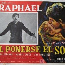 Cine: RAPHAEL - AL PONERSE EL SOL - MARIO CAMUS - SERENA VERGANO - LOBBY CARD ORIGINAL MEXICANO . Lote 16052981