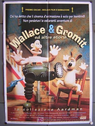 T00970 WALLACE Y GROMIT AARDMAN ANIMACION POSTER ORIGINAL 100X140 ITALIANO (Cine - Posters y Carteles - Infantil)