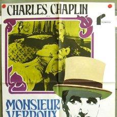 Cine: T00993 MONSIEUR VERDOUX CHARLES CHAPLIN POSTER ORIGINAL 70X100 NO ESTRENADO. Lote 4005322