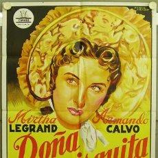 Cine: T01769 DOÑA FRANCISQUITA MIRTHA LEGRAND POSTER CIFESA PERIS ARAGO ORIG 70X100 ESTRENO LITOGRAFIA B. Lote 14158135