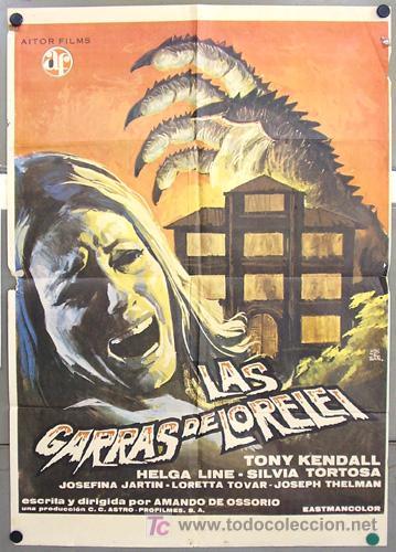 T01833 LAS GARRAS DE LORELEI AMANDO DE OSSORIO POSTER ORIGINAL 70X100 DEL ESTRENO (Cine - Posters y Carteles - Terror)