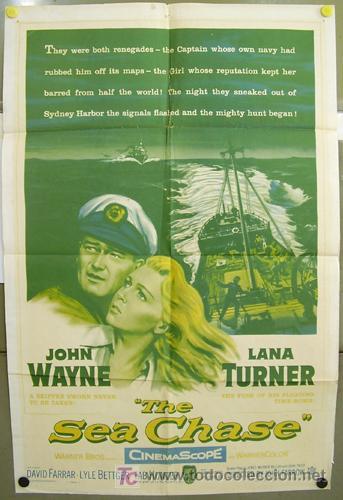 T01870 EL ZORRO DE LOS OCEANOS JOHN WAYNE LANA TURNER POSTER ORIGINAL USA 70X105 (Cine - Posters y Carteles - Bélicas)
