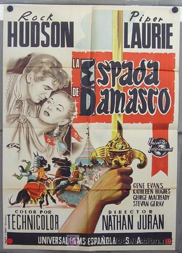 ZQ92D LA ESPADA DE DAMASCO ROCK HUDSON POSTER ORIGINAL 70X100 DEL ESTRENO LITOGRAFIA (Cine - Posters y Carteles - Aventura)