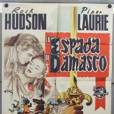 Cine: ZQ92D LA ESPADA DE DAMASCO ROCK HUDSON POSTER ORIGINAL 70X100 DEL ESTRENO LITOGRAFIA. Lote 18127579
