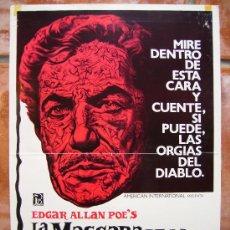 Cine: CARTEL DE CINE LA MASCARA DE LA MUERTE ROJA, 35X50. Lote 26569541
